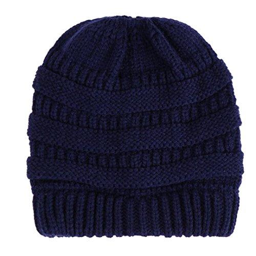 MCYs Frauen Baggy Warm Crochet Winter Strickmütze Wolle Stricken Ski Beanie Skull Slouchy Caps Hut Mütze Mütze mit Schädel Kappe Skimütze (Navy) -