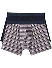 M&Co Mens Soft Stretch Bamboo Fibre Stripe and Plain Trunks Elasticated Waistband Trunks Two Pack