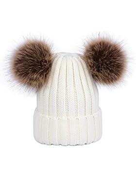 Lau's Cappelli da donna invernali berretto lavorato a maglia con doppio pompon in pelliccia sintetica rimovibile