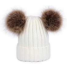 Lau s Cappelli da donna invernali berretto lavorato a maglia con doppio  pompon in pelliccia sintetica rimovibile d21a8823d16b