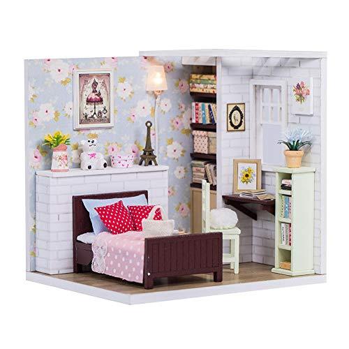 DIY Miniatur Puppenhäuser Kit Dollhouse Mit LED-Licht Plus Staubschutz Und Musik Bewegung Holz Mini Puppenhaus Möbel Set Prinzessin Haus Ornamente Dekoration Für Kinder Kinder Geburtstagsgeschenk -