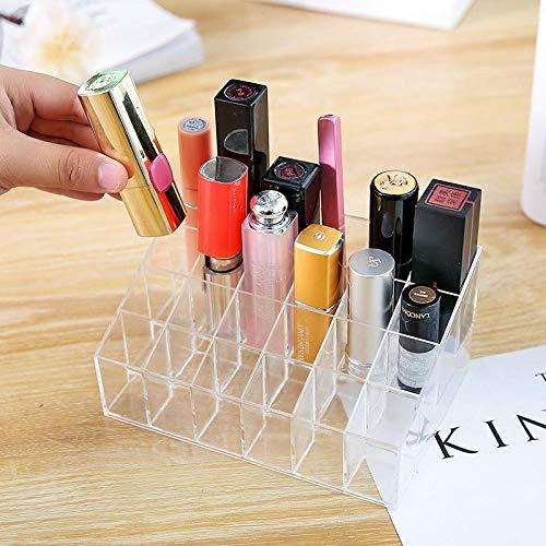 Kunststoff aufbewahrungsbox acryl transparent nagelöl augenbrauenstift display ständer make-up kosmetik kunststoff aufbewahrungsbox desktop 24 grid lippenstift rack