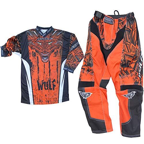 Nuovi WULFSPORT AZTEC MX Bambini Tuta Moto Pantaloni e Maglia Bambini Moto Scooter ATV Quad Motocross vestito de capretti (11-13 anni, Arancione)