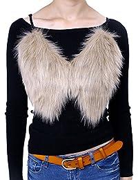 iBaste Cabestrillo Chaleco de Mujer Corta Chaqueta de Pelo Sintético  Forrada Otoño e Invierno 04fef4da3ee2