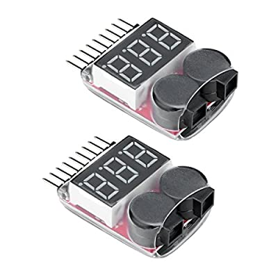 Virhuck 2pcs 1s-8s Drone / Racing Car Lipo / Li-ion / LiMn / Li-Fe Battery Tester Low Voltage Buzzer Alarm Indicator, Remote Control Helicopter Multicopter Battery Monitor Alarm 1S-8S
