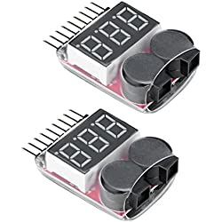 Virhuck 2pcs 1S-8S Lipo Testeur, Testeur de Batterie Lipo Voltmetre Monitor Buzzer Alarme Indicateur pour RC Drone / Off-Road Batterie Tester, Testeur de Voltmètre 1S-8S Lipo / Li-ION / LiMn / Li-Fe