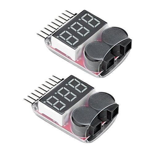 Virhuck 2 Pezzi lipo Batterie Buzzer Tensione Voltaggio d'alarme Suspensione Versa 1-8S,Tester Voltmetro della Batteria per Drone da Corsa/Fuori-Strada/Telecomando Elicottero/Multicottero Lipo Tester