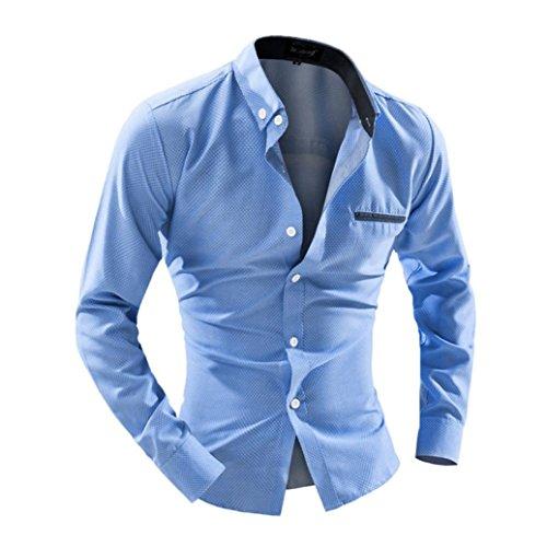 Herren Hemd T-shirt,Dasongff Herren Business Hemd Casual Langarm-Shirt Druck Punkte Langarmshirt Freizeithemd Hemden männer Shirt Tops (L, Himmelblau)