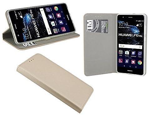 HUAWEI P10 LITE // Buchtasche Hülle Case Tasche Smart Magnet Wallet BookStyle mit STANDFUNKTION in Gold @ (Tasche Magnete)