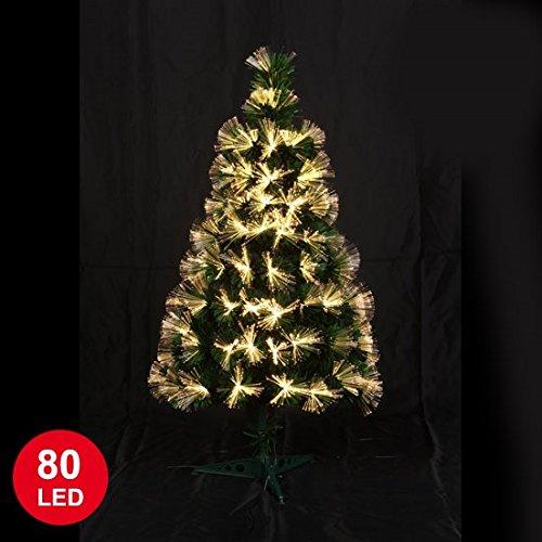 Autour de Minuit 5SAF144WW Las Vegas fibra óptica árbol de Navidad con LED 80 Negro / Blanco 90 cm