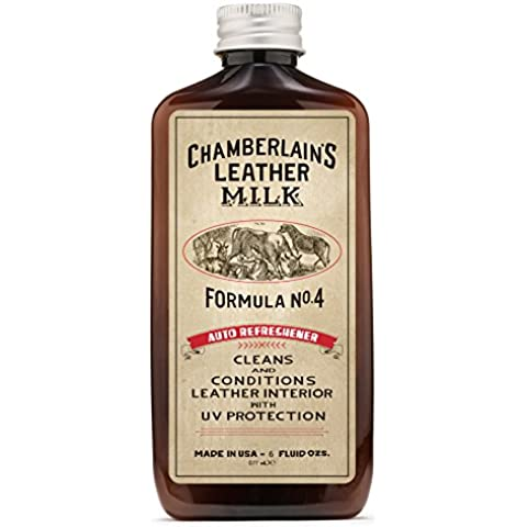 Leather Milk Auto Leather Conditioner and Cleaner with UV Protection - Auto Refreshener No. 4 - All Natural, Non-Toxic Protection for Car Interiors. Made in USA. 2 Sizes. Includes Conditioning Pad by Chamberlain's Leather Milk