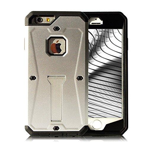 Full Cover Case für iPhone 6 Plus 6s Plus Schutz Hülle Hybrid Schwarz mit Kickstand aus TPU und Hart Plastik mit Kickstand Armor Schutzhülle Silber