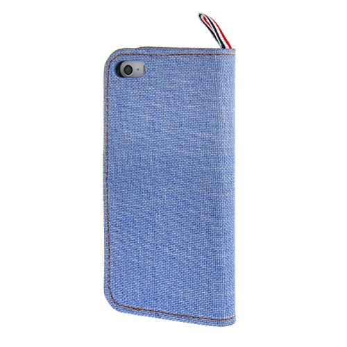 MOONCASE Canvas fabric Housse de Cuir Portefeuille Coque en Protection Étui à rabat Case pour Apple iPhone 5/ 5S Bleu Bleu