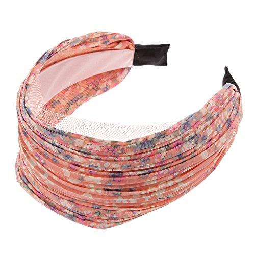 Bandeau Large Serre-tête Accessoire pour Cheveux Plissé Floral