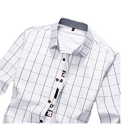 DD UP Herren Hemd Slim Fit Baumwolle Business Langarmhemd Kariert Freizeit Hemden Weiß-2