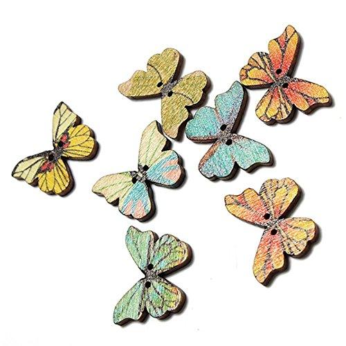 e Holz-Knöpfe, 50 Stück, 2 Löcher, Gemischte Holzknöpfe, Schmetterling, Nähen, Scrapbooking, DIY Zubehör, Mehrfarbig ()