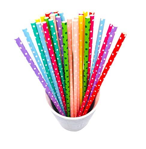BIPY Trinkhalme aus Papier, biologisch abbaubar, mit Punktmuster, in 8 Farben, ideal für Geburtstags- und Hochzeitspartys, 200 Stück pro Packung