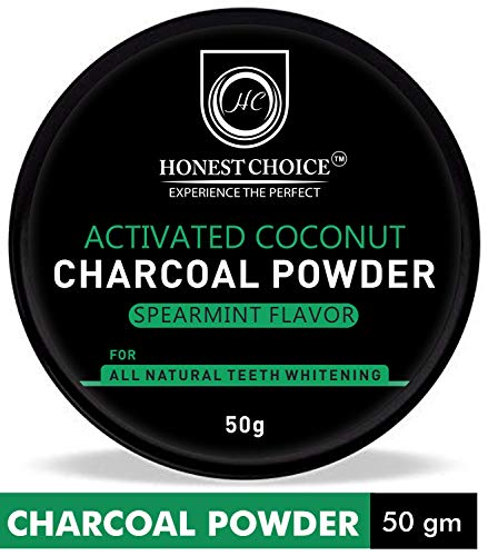HONEST CHOICE charcoal powder I teeth whitening product I Organic activated coconut teeth whitener I proven to remove surface stain effectively on enamel & freshness breath 50 gm