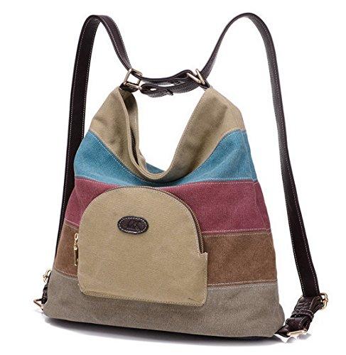08785911612e2 Panegy Damen Frauen Casual Tasche Mode Bunt Streifen Canvas Schultertasche  Fashion Ethnischen Stil Handtasche Für Büro ...