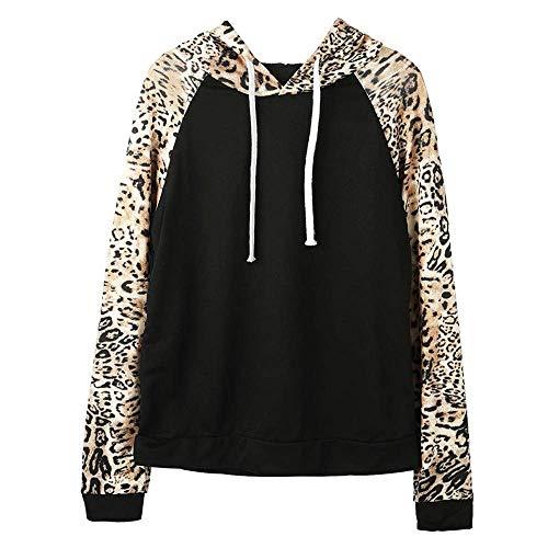 Oudan 2018 Herbst Winter Frauen Hoodie Mode Leopard Pullover Sweatshirt Pullover Bluse Top mit Kapuze (Farbe : Schwarz, Größe : L) (Leopard Pullover Hoodie)