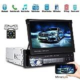 Camecho 1DIN HD 7-Zoll-Auto-Stereo-MP5-Spieler-Autoradio Faltbarer Touch Screen GPS Bluetooth Unterhaltungs-Multimedia-Audio + Ersatzkamera 8 IR-Licht-Nachtsicht