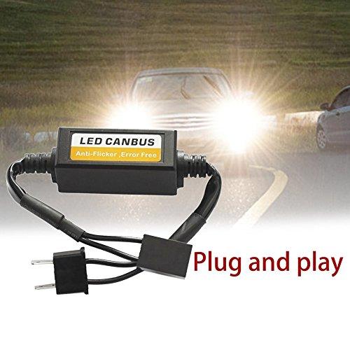 Swiftswan 9-36V H7 LED Decoder Anti Flicker Auto Scheinwerfer Adapter Fehlerfrei Canceller (Farbe: Schwarz)