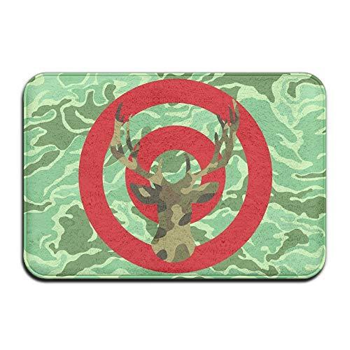 Soft Non-Slip Camo Archery Deer Hunting Bullseye Bath Mat Coral Fleece Area Rug Door Mat Entrance Rug Floor Mats -