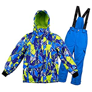 Skianzug Jungen/Mädchen, Kinder Hosenträger Skihose + Schneeanzug Skijacke Winddicht, atmungsaktiv und Winddicht Wasserfest Farb- und Größenwahl