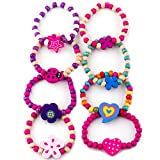 8 Bracelets Colorful Wooden Jewellery Girls Bracelets Christmas and Birthday Party Bag Filler Loot