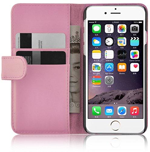 JAMMYLIZARD Lederhülle für iPhone 6 / 6s   Ledertasche [ Wallet Tasche Series ] Leder Book Case Hülle Flip Cover Schutzhülle mit Kartenfach, Rosa Series Leder Tasche Case