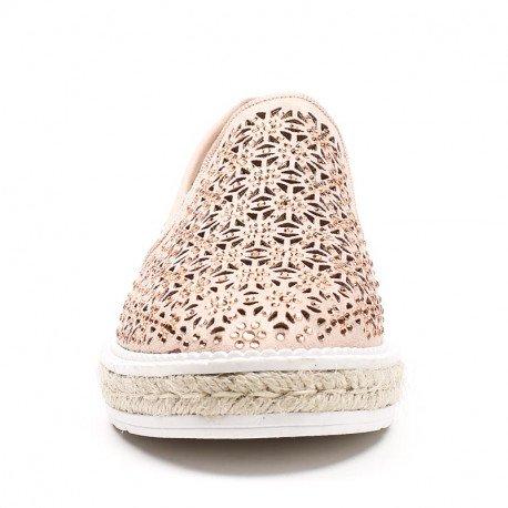 Ideal Shoes - Espadrilles ajourées avec strass Heliana Rose