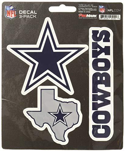 NFL Team Aufkleber - 3 Stück, Jungen Damen Mädchen Unisex Herren, blau, Standard (Aufkleber Cowboys Dallas)