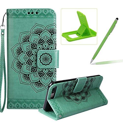 Für iPhone 7 Plus 5.5Zoll Flip PU Leder Brieftasche, Herzzer Klassisch Jahrgang [Mandala Blume Muster] Tasche Handy Case Schutz Hüllen im Bookstyle Handyhülle Ledertasche mit Stand Funktion Kartenfäch Grün