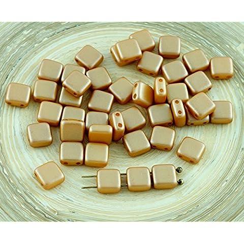 40pcs Pastel de color Ámbar de Oro Mosaico de Cristal checo de Perlas de Dos agujeros Plana Cuadrada de 6 mm x 6 mm