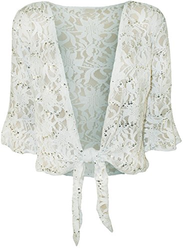 New Ladies Cravate Dentelle Bolero Top Paillettes évasée 3/4 manches Boléro 40-54 white