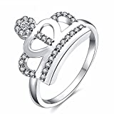 The sweetest weapon Lady Platinum Diamond Ring Krone Geformter Diamant Ring, 6