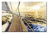 Berger Designs Bild auf Leinwand als Kunstdruck in Verschiedenen Größen. Wandbild Segeln Segelschiff Segelboot Sonnenuntergang. Beste Qualität aus Deutschland (120 x 80 cm BxH)