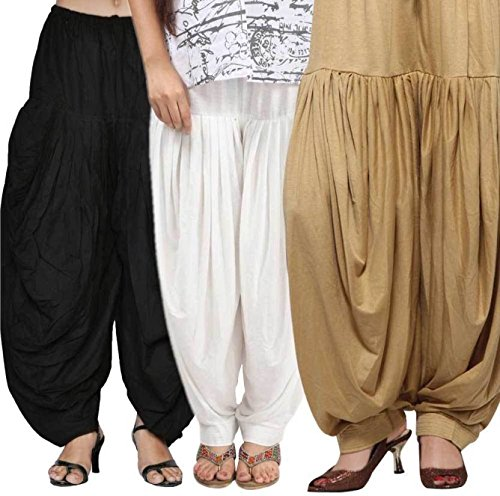 OOPLI Women\'s Soft Cotton Full Stitched Ready Made Patiala Bottom Salwar Patiyala Combo Pack of 3 (Free Size) Skin,White,Black