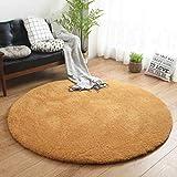 BAIBAI Teppich-Teppichboden Runder Teppich-modernes einfaches Schlafzimmer-Teppich-Ausgangswirtschafts-Teppich-Normallack-Teppich-Sofa-Teppich-Teppich,140 x 140 cm,Khaki