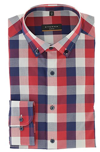 Eterna Long Sleeve Shirt Slim Fit Stretch Checked Rosso/Blu/Bianco