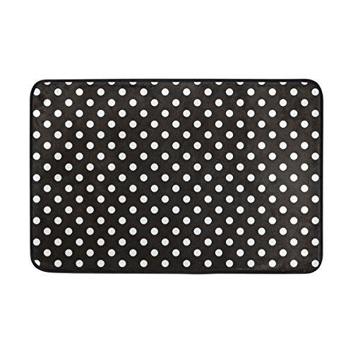 Dots auf schwarzem Hintergrund Fußmatte, Eintrag Weg Indoor Outdoor Tür Teppich mit Non Slip Backing, (23,6 von 15,7-Zoll) ()