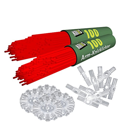 200 Knicklichter KNIXS | Rot | inkl. 200 x 3D-Verbinder und 4 x Ballverbinder, seit 10 Jahren in Profiqualität, deutsche Testnote: 1,6