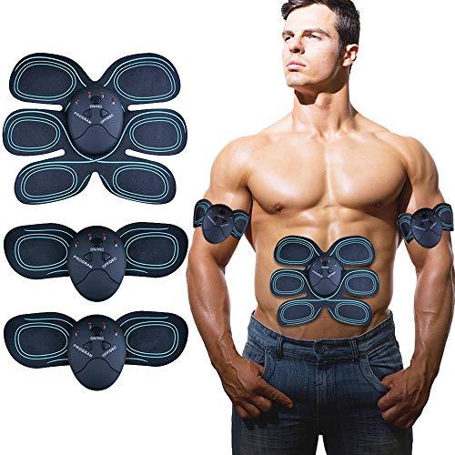 YUCHEEN Elektrischer Muskelstimulation, EMS Trainingsgerät Bauchmuskeltrainer Elektrisch Muskeltraining Machine, Muskelaufbau und Fettverbrennungn Massage-Gerät Damen und Herren (D)