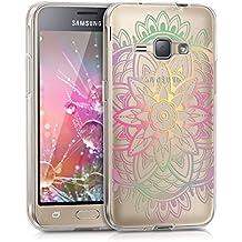 kwmobile Funda para Samsung Galaxy J1 (2016) - Case para móvil en TPU silicona - Cover trasero Diseño Girasol en multicolor rosa fucsia transparente