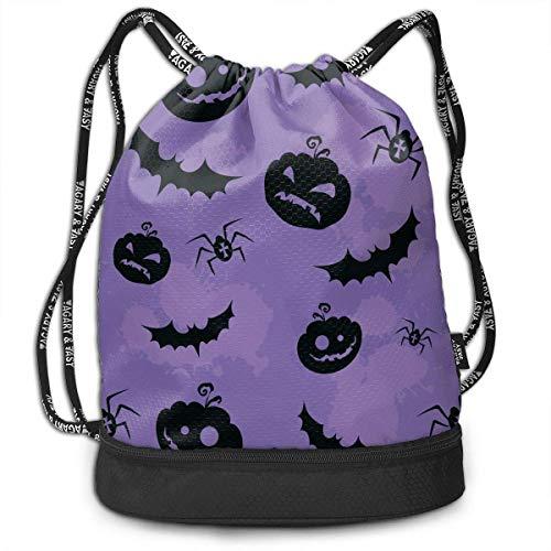 Men & Women Waterproof Large Storage Drawstring Backpack - Halloween Pumpkin Bat Cinch Backpack Sackpack Tote Sack for Gym Hiking School