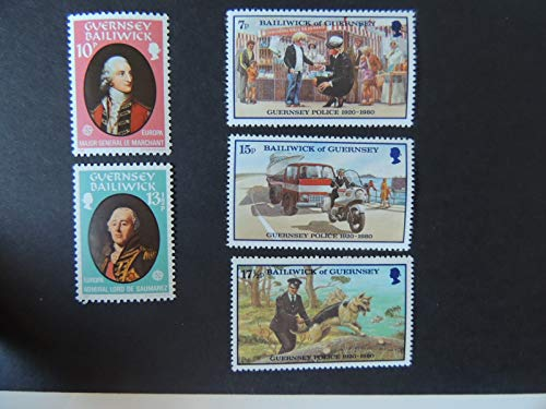 GUERNSEY 1980 EUROPA PERSONALITIES (2 VALUES, SG212-213) AND POLICE (3 VALUES, SG214-216) MNH DOGS GSD MOTORCYCLE UNIFORMS JandRStamps