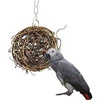 Pelotas de mimbre natural para masticar juguete para pájaros loros africanos grises Budgie parakeet Cockatiel conure Macaw Lovebird Cage Juguete
