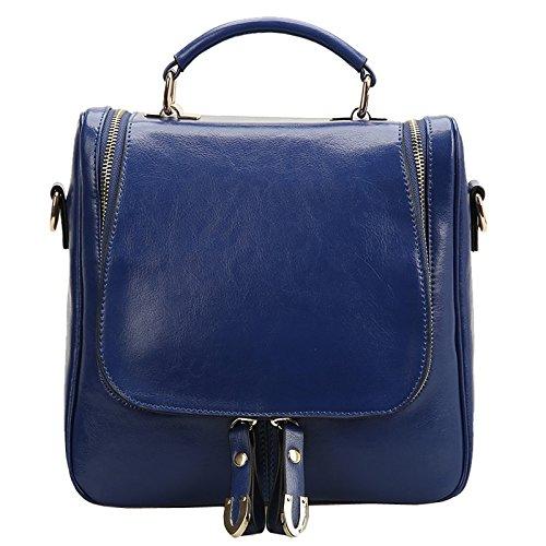 Dissa Q0424 Damen Leder Handtaschen Top Handle Satchel Tote Taschen Schultertaschen 30x29x13 cm (B x H x T) Blau