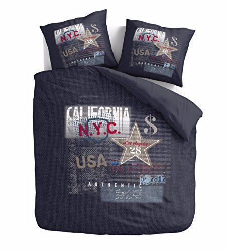 Aminata – Bettwäsche 135x200 cm Baumwolle + Reißverschluss USA Amerika Bettbezug Blau Weiß Rot Stern Sternchen Streifen Musiknote California New York 2-teiliges Bettwäscheset Ganzjahr Normalbettgröße
