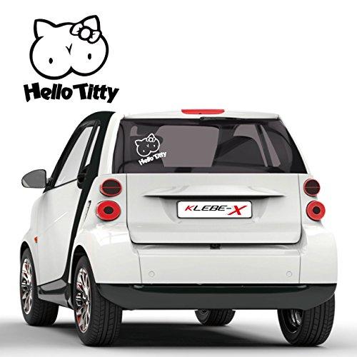 Hello Titty Fun Sticker Tuning Aufkleber für das Auto Folienplot JDM Motive Cartattoo |F004